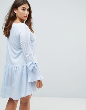 photo Drop Hem Dress with Bow Cuff Detail by AX Paris Plus, color Blue - Image 2