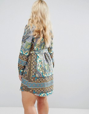 photo Boho Border Print Shirt Dress by AX Paris Plus, color Border Print - Image 2