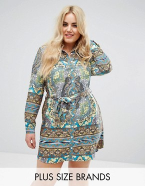 photo Boho Border Print Shirt Dress by AX Paris Plus, color Border Print - Image 1
