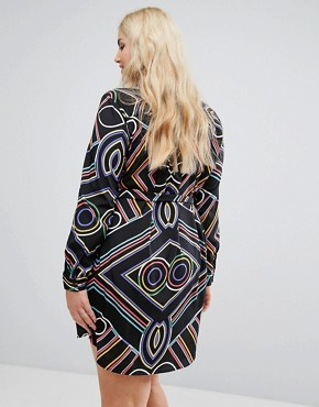 photo Bright Line Print Shirt Dress by AX Paris Plus, color Multi - Image 2