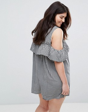 photo Gingham Ruffle Cold Shoulder Dress by AX Paris Plus, color Multi - Image 2