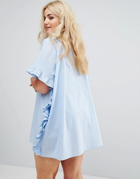 photo Ruffle Size Oversize Shirt Dress by AX Paris Plus, color Blue Chambray - Image 2