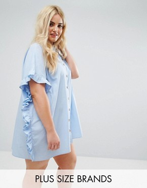 photo Ruffle Size Oversize Shirt Dress by AX Paris Plus, color Blue Chambray - Image 1