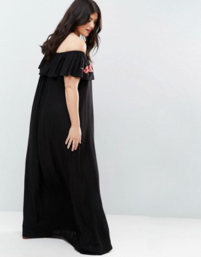 photo Embroidered Bardot Maxi Dress by AX Paris Plus, color Black - Image 2