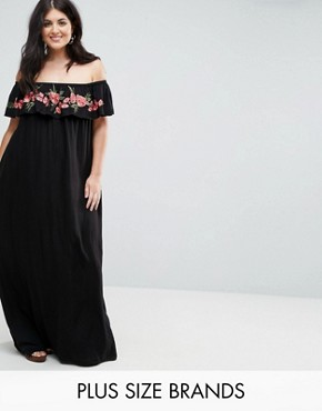 photo Embroidered Bardot Maxi Dress by AX Paris Plus, color Black - Image 1