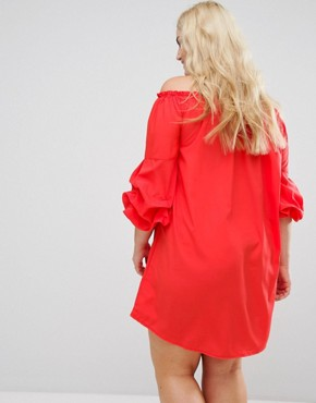 photo Ruffle Sleeve Bardot Dress by AX Paris Plus, color Bright Red - Image 2