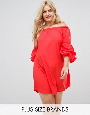 photo Ruffle Sleeve Bardot Dress by AX Paris Plus, color Bright Red - Image 1
