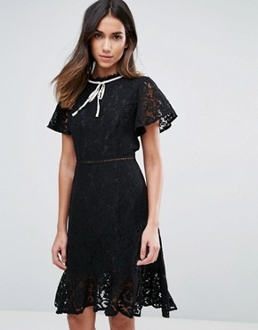 photo Lace Short Sleeve Dress with Contrast Trim by Amy Lynn, color Black - Image 1