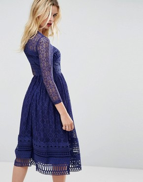 photo Lace Skater Midi Dress by ASOS PREMIUM, color Navy - Image 2