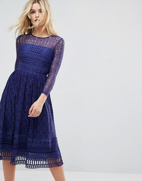 photo Lace Skater Midi Dress by ASOS PREMIUM, color Navy - Image 1