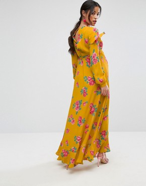 photo Long Sleeve Wrap Maxi Tea Dress in Bold Floral by ASOS Maternity, color Yellow - Image 2
