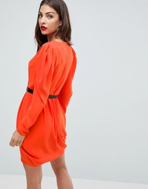 photo Plunge Neck Wrap Mini Dress with Belt by ASOS, color Red - Image 2
