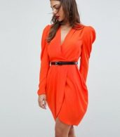 photo Plunge Neck Wrap Mini Dress with Belt by ASOS, color Red - Image 1