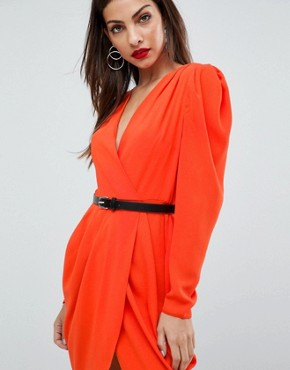 photo Plunge Neck Wrap Mini Dress with Belt by ASOS, color Red - Image 3