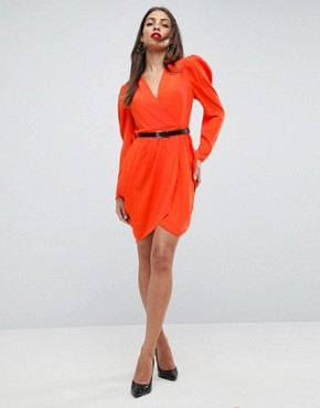 photo Plunge Neck Wrap Mini Dress with Belt by ASOS, color Red - Image 4