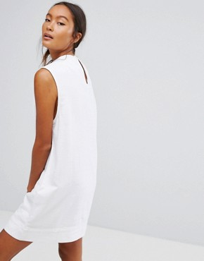 photo Ditte Denim High Neck Shift Dress by Waven, color White - Image 2