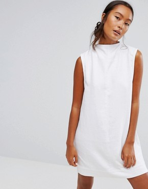 photo Ditte Denim High Neck Shift Dress by Waven, color White - Image 1
