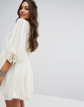 photo Kalypso Mini Embroidered Dress by Free People, color Ivory - Image 2