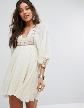 photo Kalypso Mini Embroidered Dress by Free People, color Ivory - Image 1