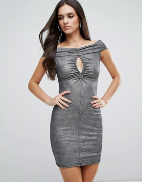 photo Ruched Front Bardot Dress by Love, color Foil - Image 1