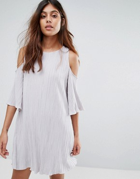 photo Cold Shoulder Pleated Dress by Mango, color Pearl - Image 1