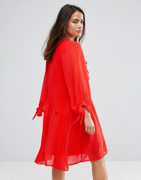 photo Ruffle Trim Dress by Mango, color Red - Image 2