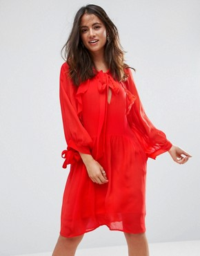 photo Ruffle Trim Dress by Mango, color Red - Image 1