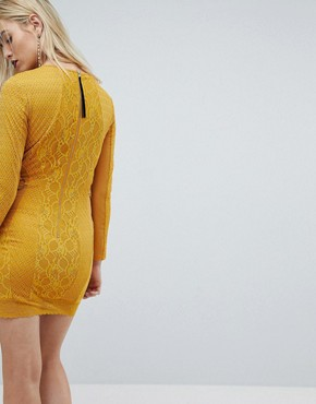 photo Mustard Lace Long Sleeve Mini Dress with Ring Detail by ASOS, color Mustard - Image 2