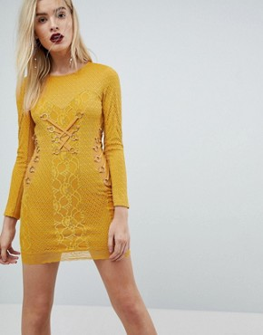 photo Mustard Lace Long Sleeve Mini Dress with Ring Detail by ASOS, color Mustard - Image 1
