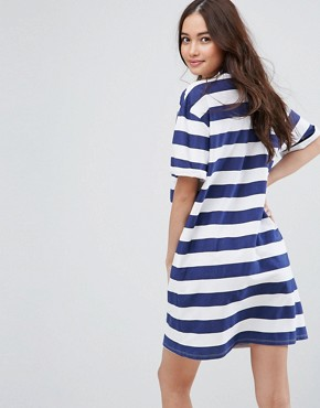 photo T-Shirt Dress with Rolled Sleeves in Stripe by ASOS ULTIMATE, color Navy/White Stripe - Image 2