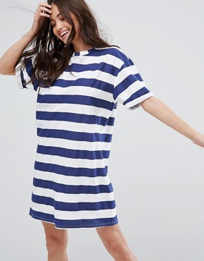 photo T-Shirt Dress with Rolled Sleeves in Stripe by ASOS ULTIMATE, color Navy/White Stripe - Image 1