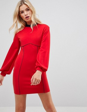 photo Seam Detail Mini Swing Dress with Bell Sleeve by ASOS, color Red - Image 1