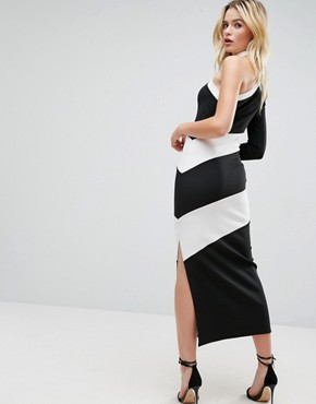 photo One Shoulder Heavy Rib Contrast Panel Maxi Dress with Choker Detail by ASOS, color Black White - Image 2