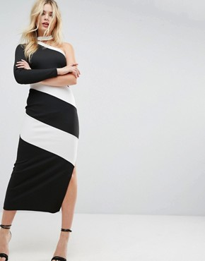photo One Shoulder Heavy Rib Contrast Panel Maxi Dress with Choker Detail by ASOS, color Black White - Image 1
