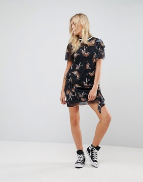 photo Printed Mesh Tea Dress with Frill and Rib by ASOS, color Multi - Image 4