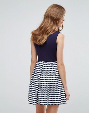 photo Skater Dress with Contrast Striped Skirt by Lavand, color Navy - Image 2