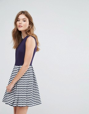 photo Skater Dress with Contrast Striped Skirt by Lavand, color Navy - Image 1