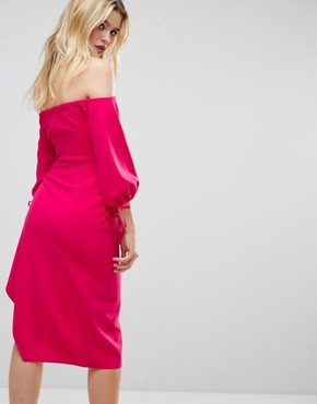 photo Bardot Midi Dress with Tiered Wrap Skirt by ASOS, color Hot Pink - Image 2