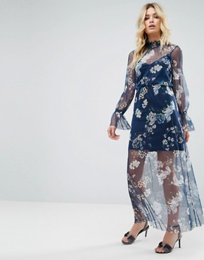 photo Printed Mesh Maxi Dress with Shirred Neck by ASOS, color Floral Print - Image 1
