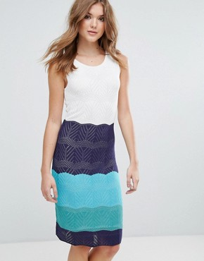 photo Colourblock Knitted Midi Dress by Lavand, color White - Image 1