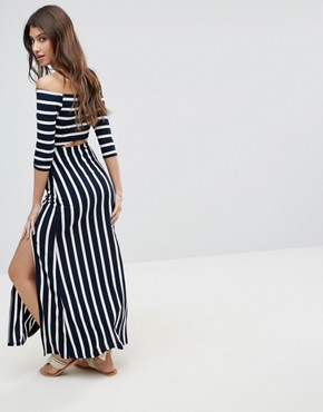 photo Bardot Maxi Dress with Cut Out in Stripe by ASOS, color Navy/White Stripe - Image 2
