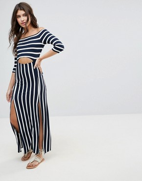 photo Bardot Maxi Dress with Cut Out in Stripe by ASOS, color Navy/White Stripe - Image 1