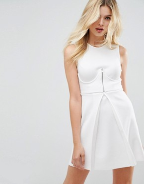 photo Mini Scuba Skater Dress with Zip Corset by ASOS, color White - Image 1