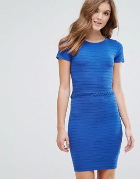 photo Ribbed Jumper Dress with Frill Detail by Lavand, color Blue - Image 1