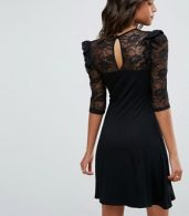 photo Mini Swing Dress with Lace Panel and Frill by ASOS, color Black - Image 2