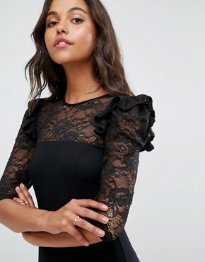 photo Mini Swing Dress with Lace Panel and Frill by ASOS, color Black - Image 3