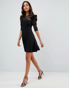 photo Mini Swing Dress with Lace Panel and Frill by ASOS, color Black - Image 4