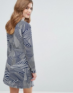 photo Long Sleeve Printed Skater Dress by Lavand, color Navy - Image 2