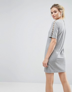 photo Sweat Dress with Pearl Shoulder Detail by ASOS, color Grey Marl - Image 2