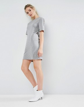 photo Sweat Dress with Pearl Shoulder Detail by ASOS, color Grey Marl - Image 1